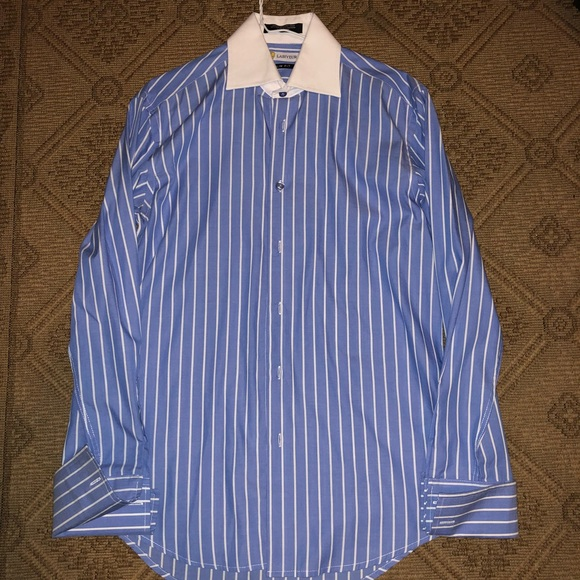 Mens Dress Shirt Labiyeur Slim Fit French Cuff Spread Collar Blue//White Striped